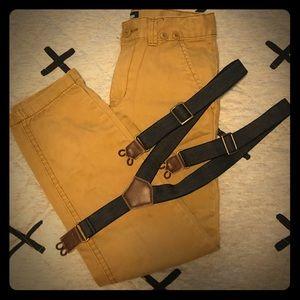 Boys Oshkosh Khaki Pants with Suspenders, Size 7